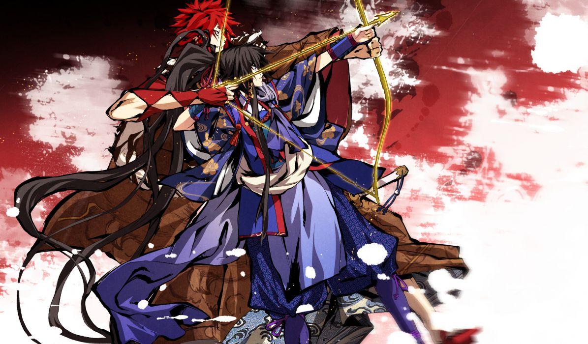 black hair bow (weapon) g yuusuke game cg kajiri kamui kagura koga rindou red hair sakagami habaki sky weapon wallpaper