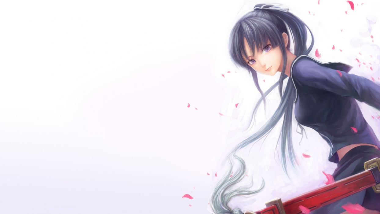 black hair ga-rei zero isayama yomi katana long hair seifuku sword weapon wallpaper
