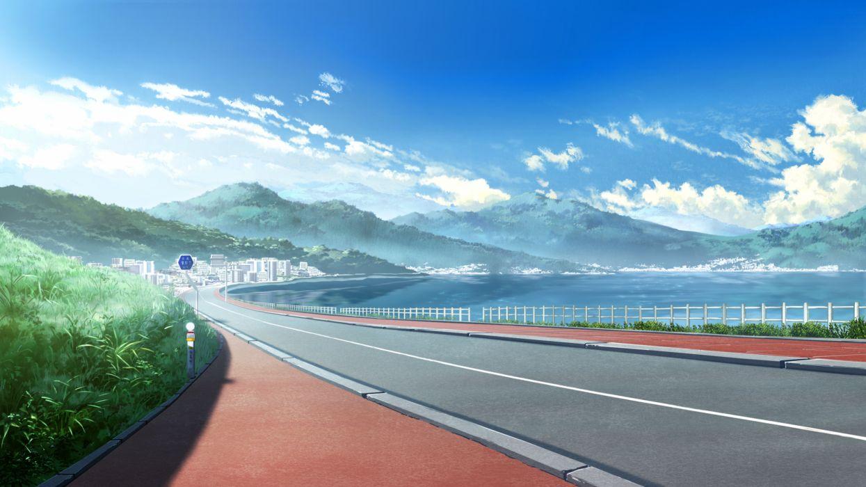 city clouds game cg grisaia no kajitsu landscape scenic sky wallpaper