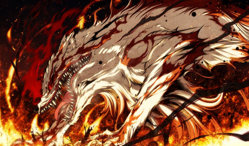 demon fire g yuusuke game cg kajiri kamui kagura dark wallpaper
