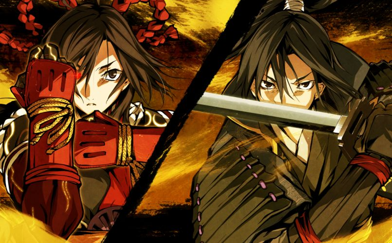 g yuusuke game cg kajiri kamui kagura kujou shiori mibu soujirou sword weapon wallpaper