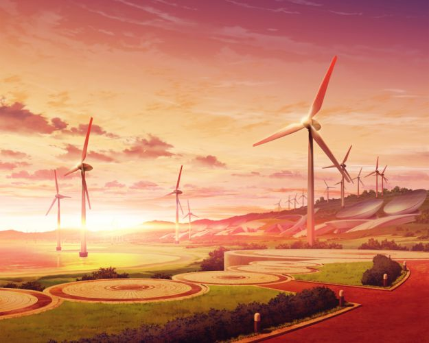game cg kono oozora ni tsubasa wo hirogete landscape scenic sunset windmill wallpaper