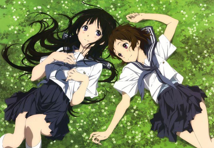 girls black hair brown hair chitanda eru grass hyouka ibara mayaka nyantype seifuku wallpaper