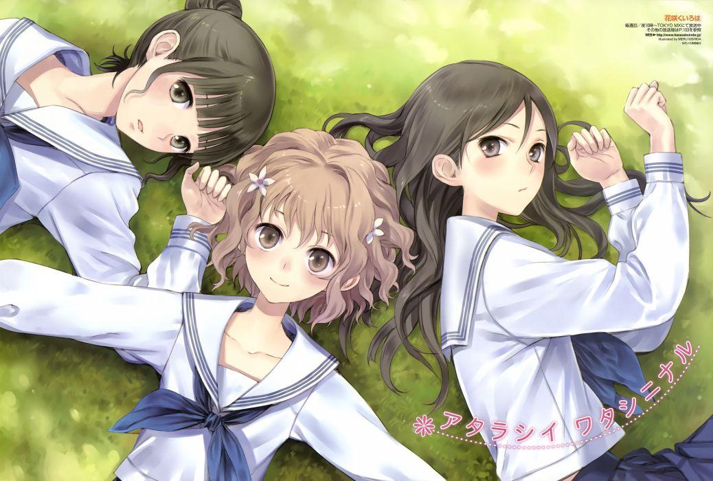 girls brown eyes brown hair grass hanasaku iroha kishida mel matsumae ohana oshimizu nako seifuku tsurugi minko wallpaper