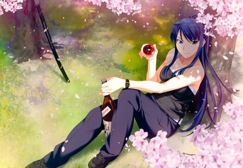 grisaia no kajitsu grisaia no meikyu katana kusakabe asako long hair petals ponytail sake sword watanabe akio weapon wallpaper