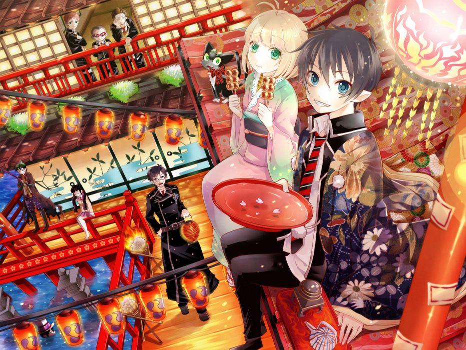 amaimon ao no exorcist dango festival green eyes kamiki izumo kimono miwa konekomaru okumura rin okumura yukio shima renzou suguro ryuji wallpaper