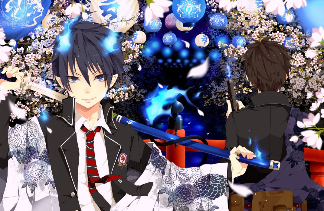 ao no exorcist blue eyes flowers gun japanese clothes katana okumura rin okumura yukio sword tie utaoka (23com) weapon wallpaper