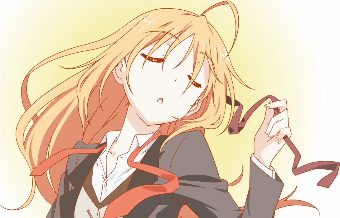 blonde hair blue eyes close konoe subaru long hair mayo chiki! vector wallpaper