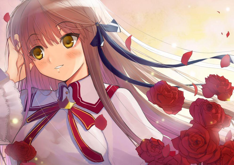 brown hair flowers hareno chiame long hair petals rewrite ribbons rose senri akane wallpaper