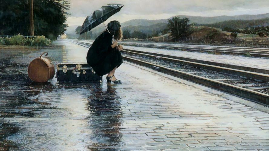 girl with umbrella in the rain wallpaper
