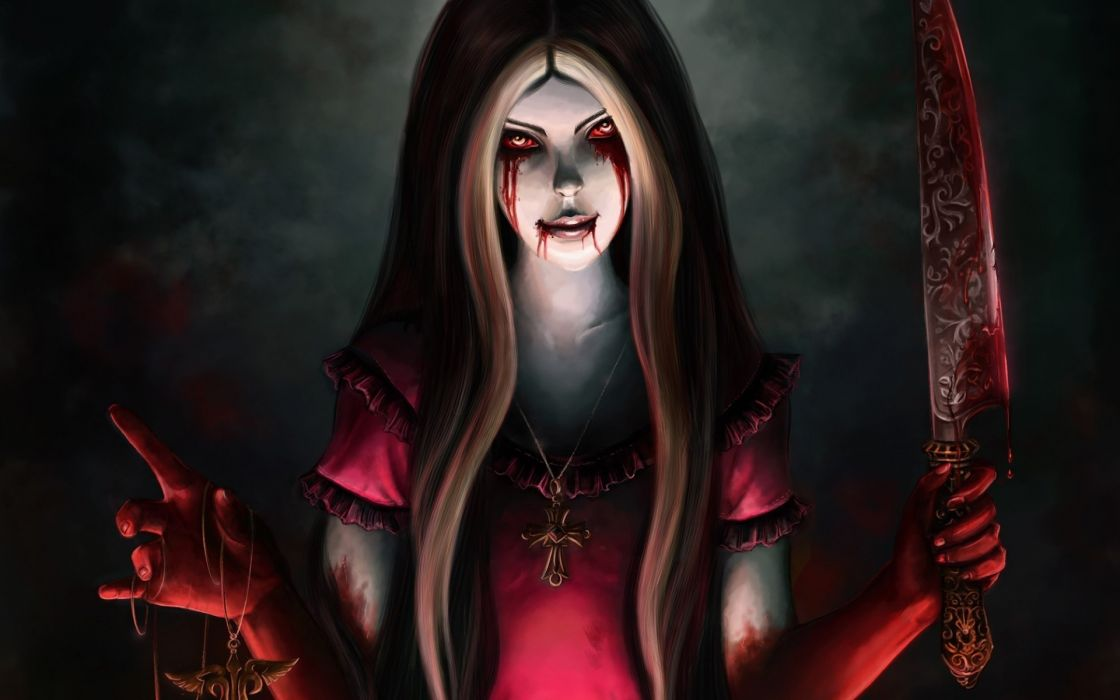 Alice Madness Returns Alice a knife blood wallpaper