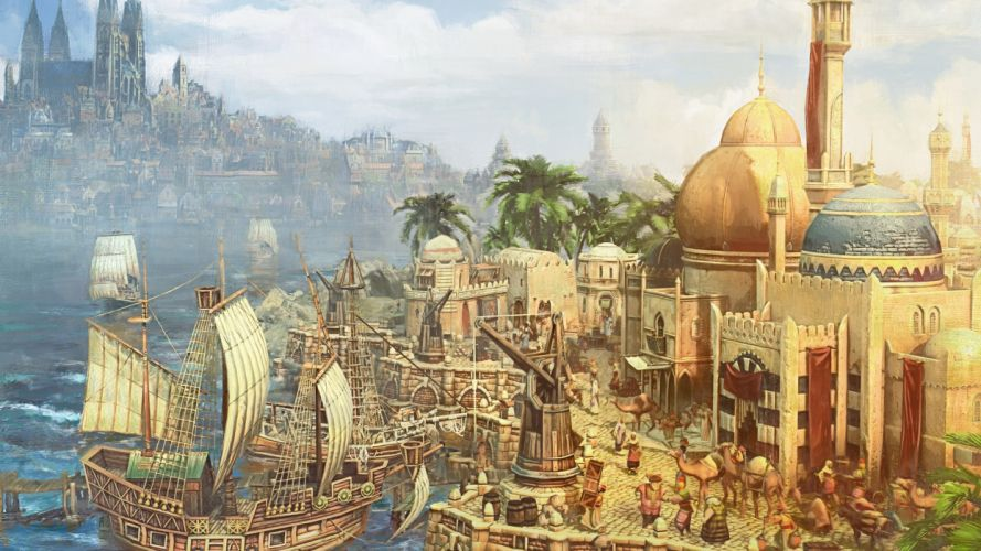 Anno 1404 city building ship boat sea fantasy wallpaper