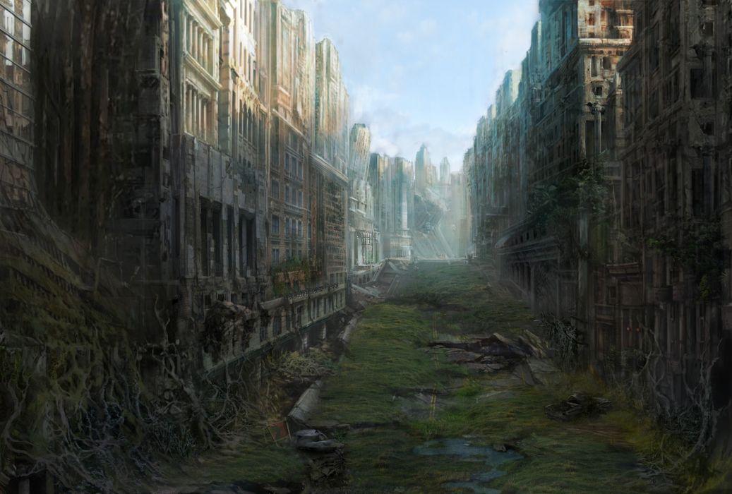 art  city  ruin  desolation  postapokaliptika ruins apocalyptic post dark sci-fi wallpaper