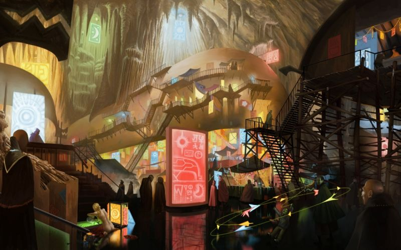 art fantasy city cave market people stairs wallpaper