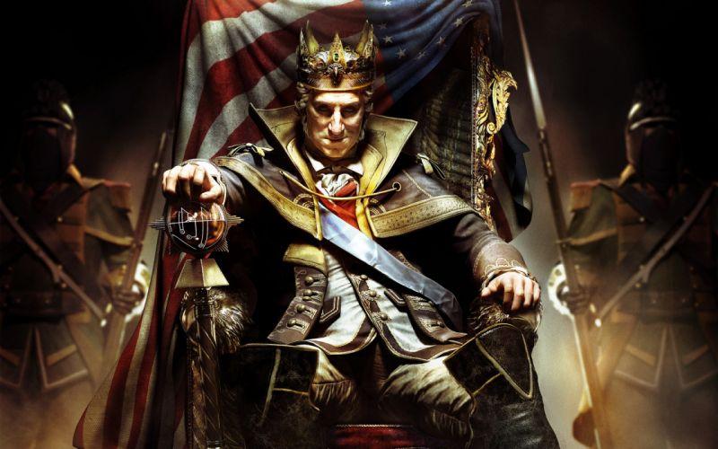 Assassin's Creed III George Washington King George Washington the king throne chair caron flag america wallpaper