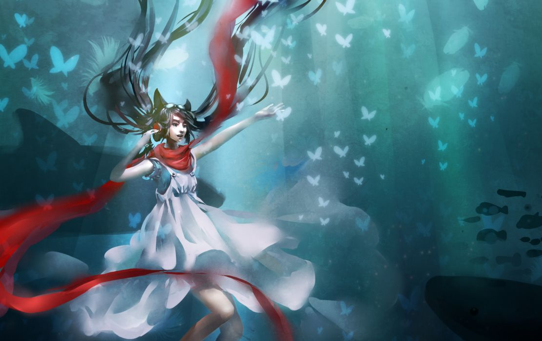 Girl  white dress  scarf  red  butterfly  headphones original wallpaper