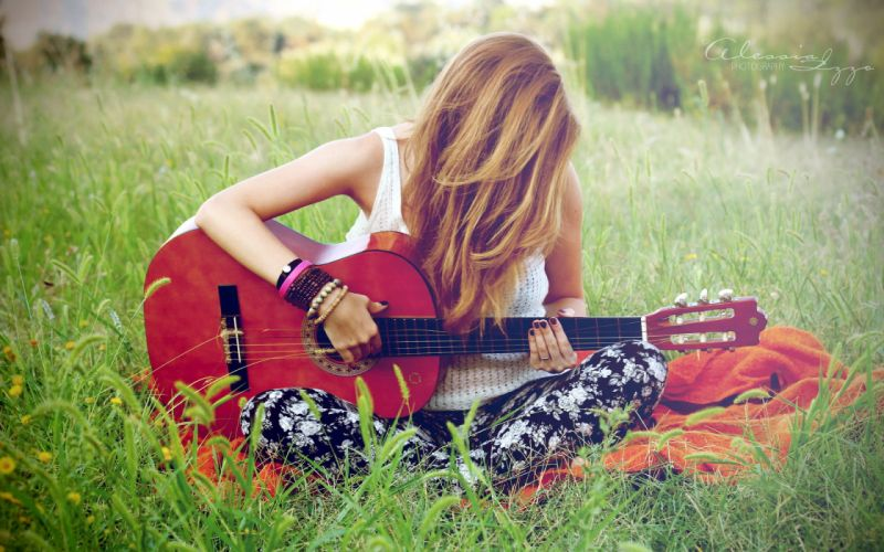 girl guitar music wallpaper