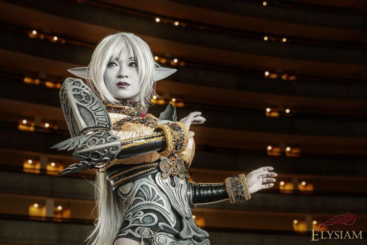 Lineage Dark Elf Cosplay girl blonde armor pointed ears asian fantasy wallpaper