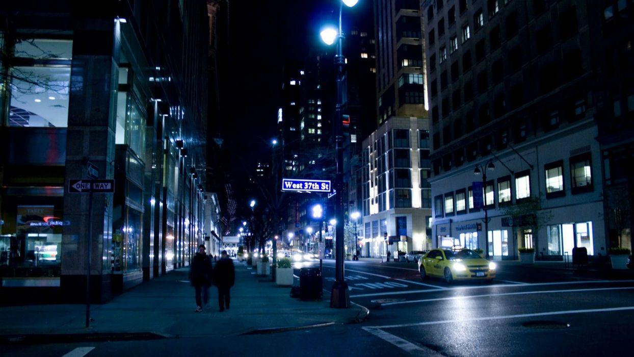 New York  people  cars  night  road  building wallpaper