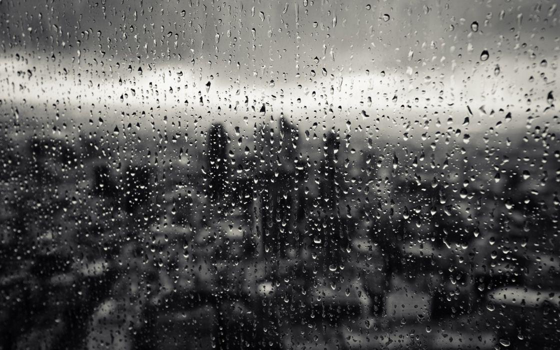 drops glass rain window city close-up cities wallpaper