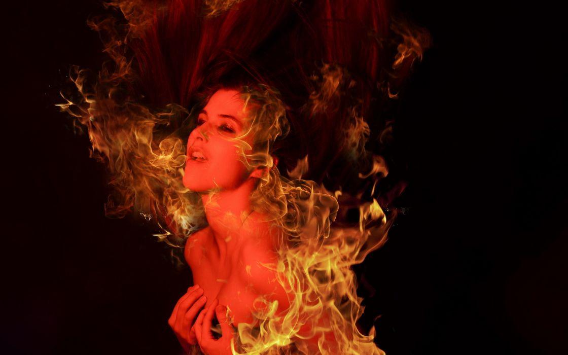 girl fire love dark demon fantasy wallpaper