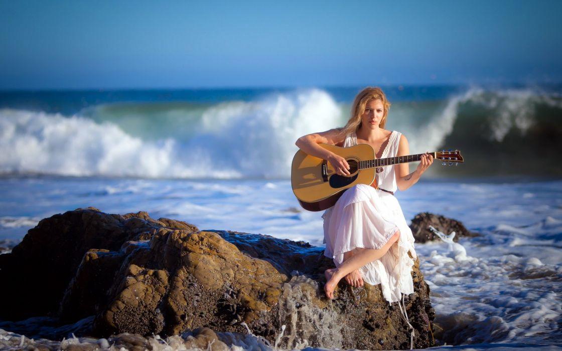 girl sea guitar music wallpaper