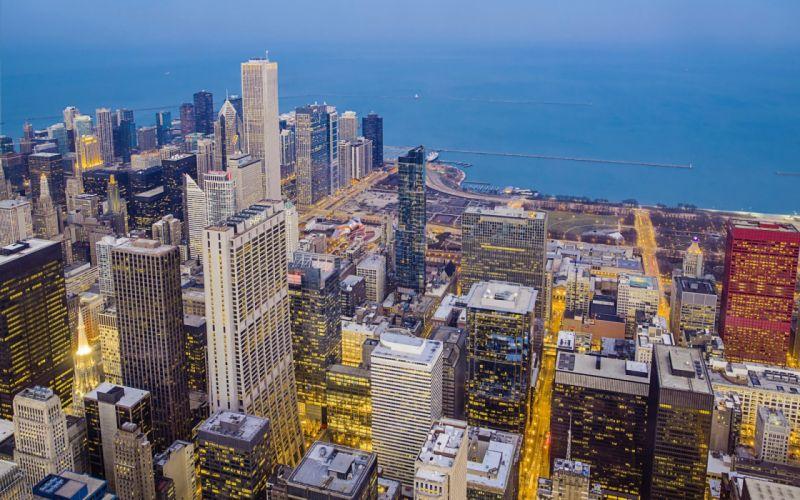 Night city Chicago USA_ wallpaper