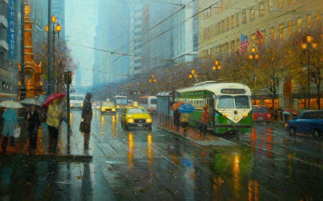 painting art Po Pin Lin street city rain tram people umbrellas taxi lights lamps lights cars road wire flags America wallpaper