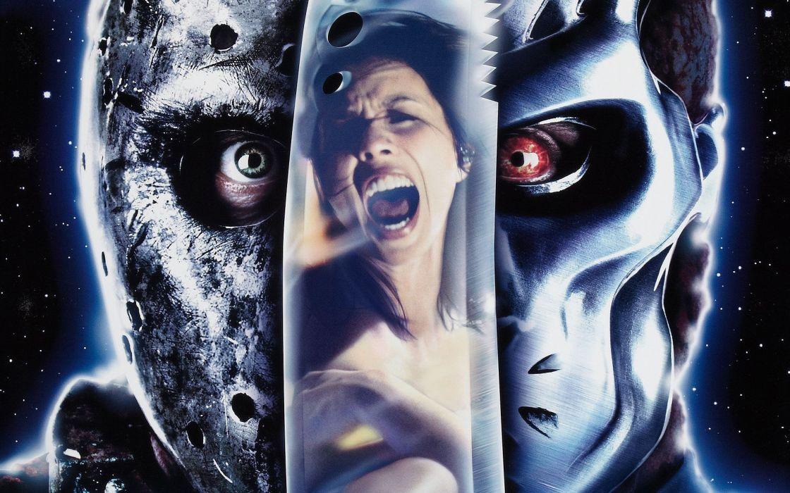 Jason X  mask  metal  knife  dagger  reflection  space  Friday the 13th dark wallpaper