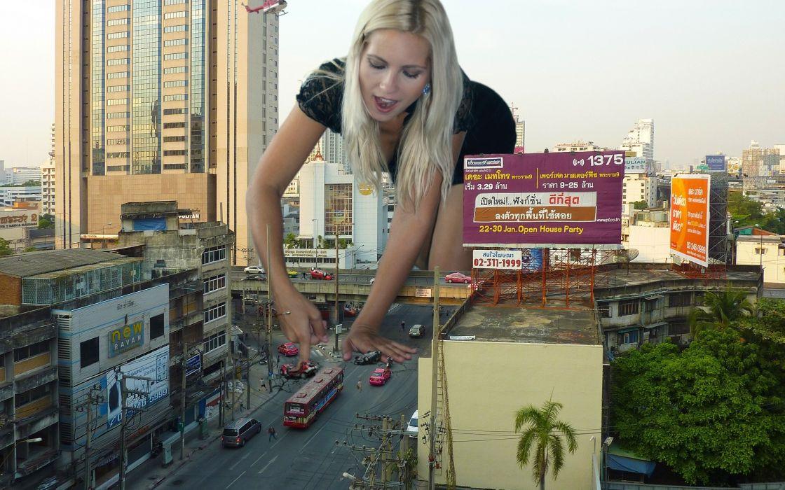 city road creative girl wallpaper