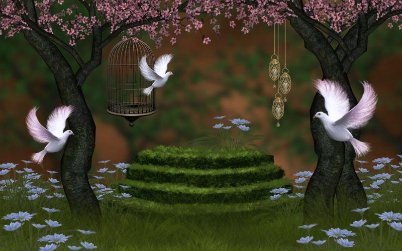 doves 3d art wallpaper