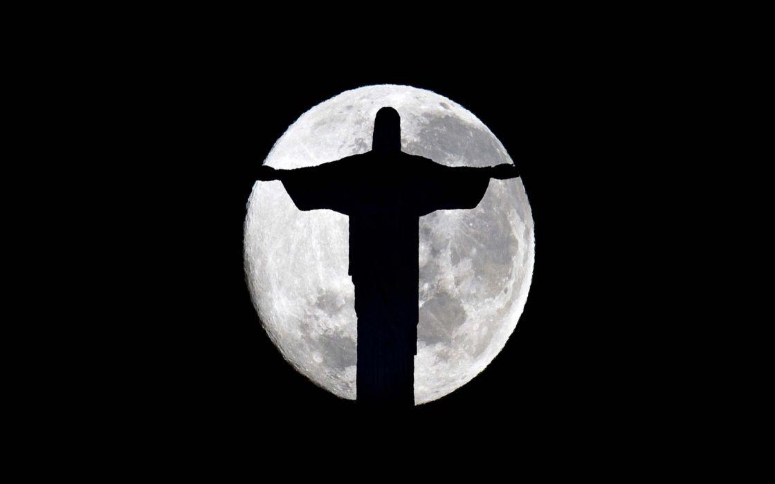moon night Jesus wallpaper