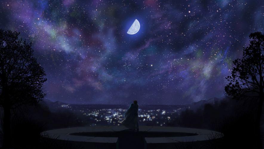 akiba rika dark ezaki yuuichi hanbun no tsuki ga noboru sora moon night sky stars totuka wallpaper