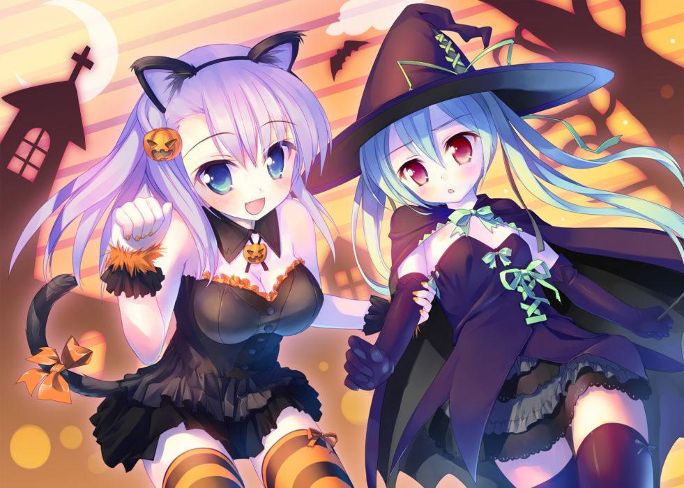 alcot animal bat dress halloween hat manabe kei moon purple hair sawatari nanagi tail takoyaki (roast) thighhighs wallpaper