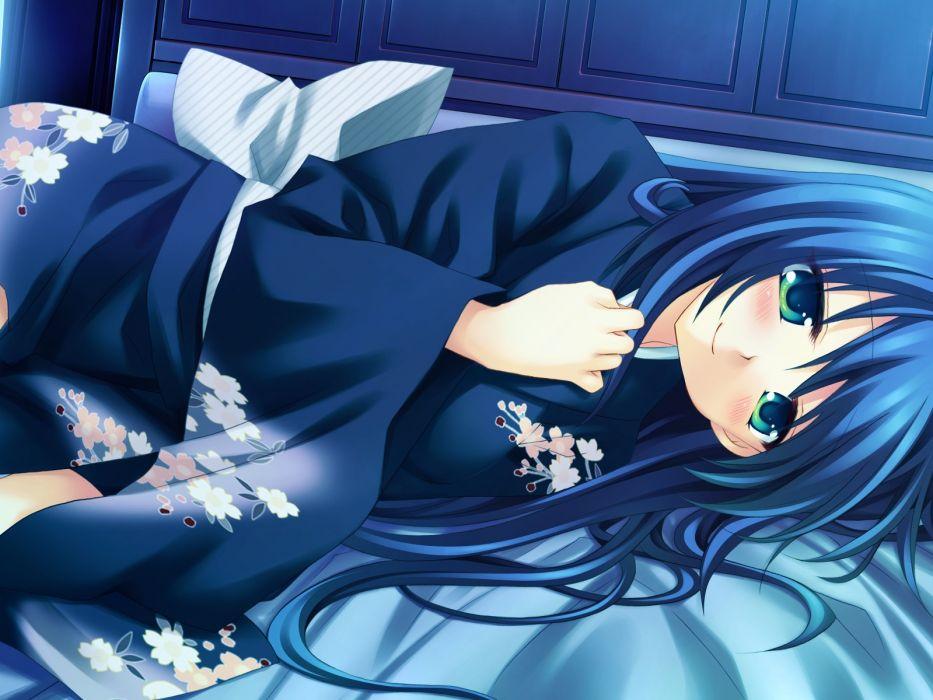amafuki setsuka blue hair blush game cg green eyes hanafubuki japanese clothes wallpaper
