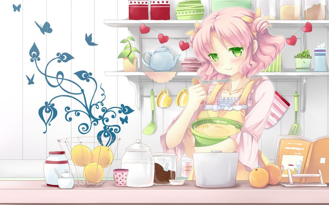 apron cafe sourire food mizushima kasumi natsume eri pink hair short hair wallpaper