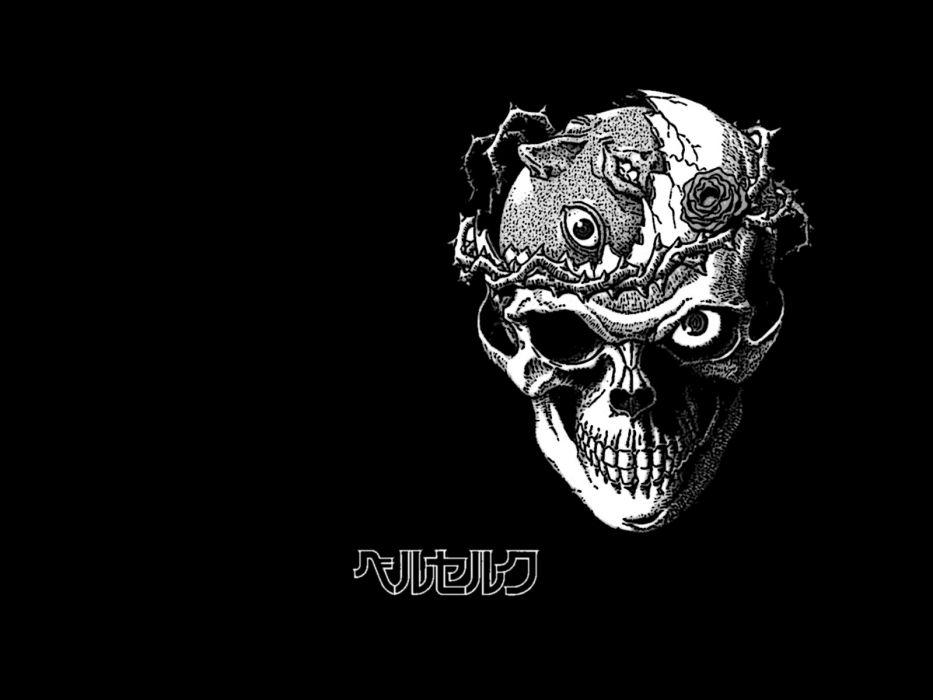 Behelit Berserk Black Flowers Monochrome Rose Skull Dark Wallpaper
