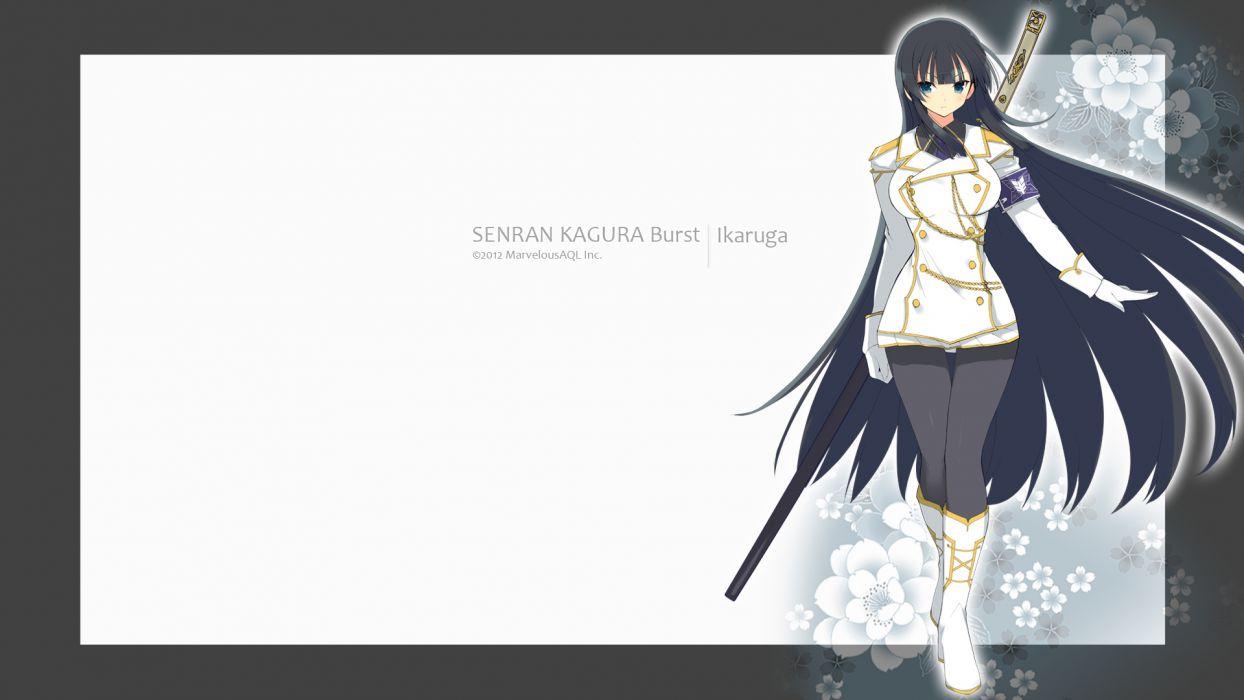 black hair blue eyes ikaruga long hair pantyhose senran kagura sword uniform watermark weapon yaegashi nan wallpaper