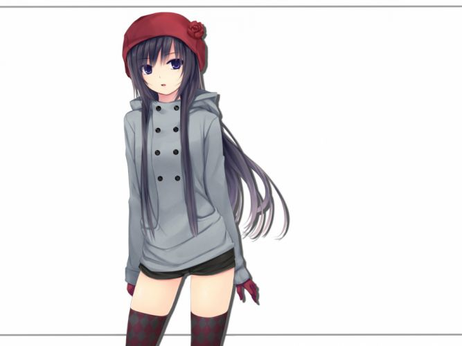 black hair coffee-kizoku cure girl gloves hat long hair purple eyes shiramine rika shorts thighhighs white wallpaper