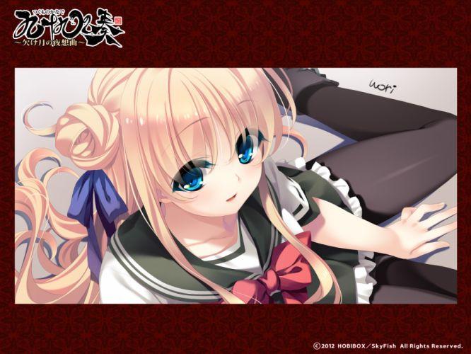 blonde hair blue eyes omoto mitsuki pantyhose seifuku skyfish tagme tsukumo no kanade wallpaper