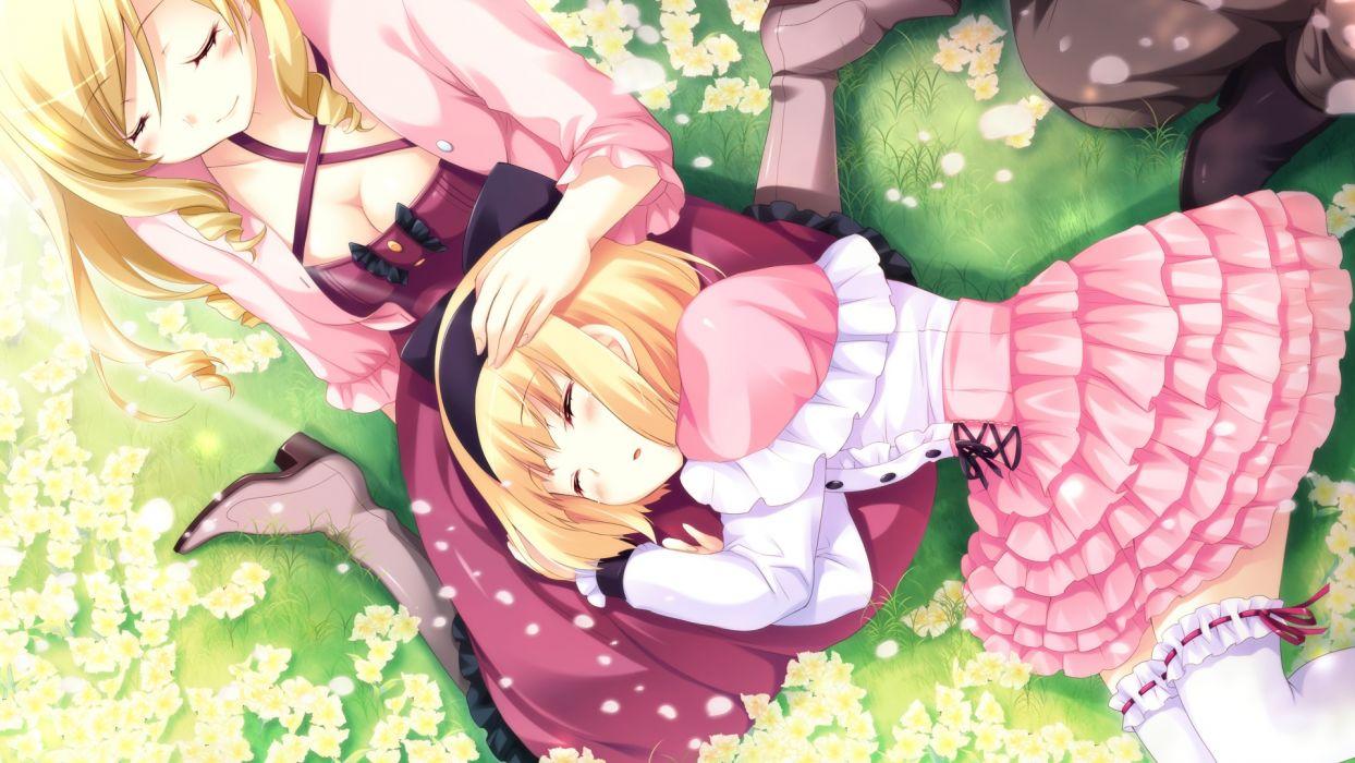 blonde hair dress flowers game cg hyper highspeed genius iris windsor sakura windsor sleeping wallpaper