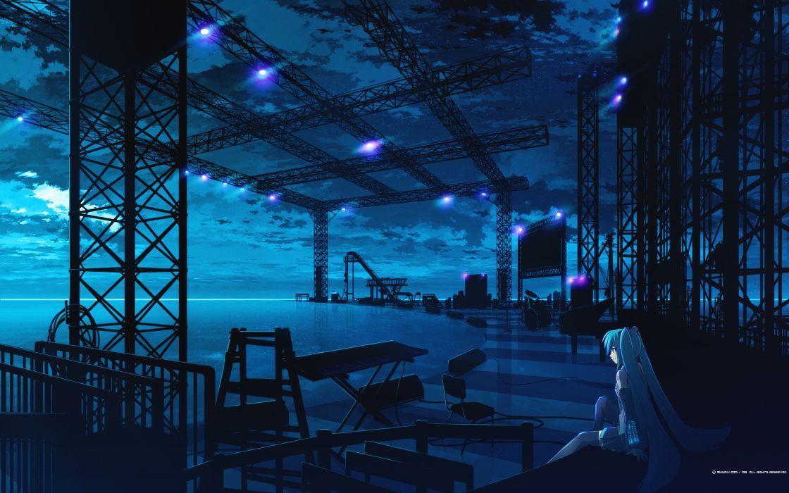 blue clouds drums hatsune miku instrument mikumix night polychromatic vocaloid wallpaper