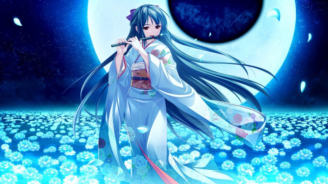 flowers game cg instrument japanese clothes long hair moon petals saeki hokuto skyfish tagme (character) tsukumo no kanade wallpaper