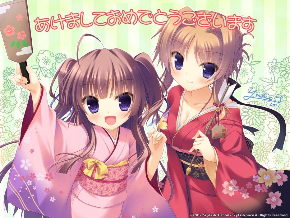 girls brown hair cabbit hinamidori chiwa japanese clothes kimono pochi to goshujin-sama purple eyes skyfish yukie wallpaper