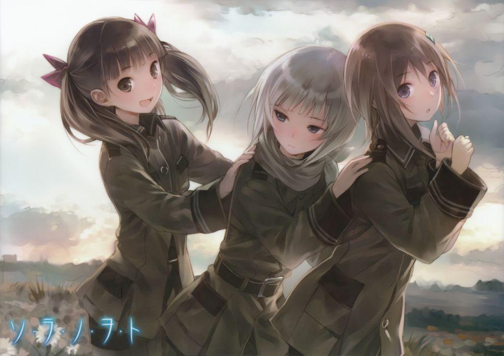 girls kannagi noel kishida mel sora no woto sorami kanata suminoya kureha uniform wallpaper