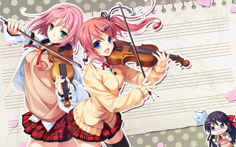 instrument ninomae sakura nonomiya ai riv seifuku shunki gentei poco a poco thighhighs violin yuki natsume wallpaper