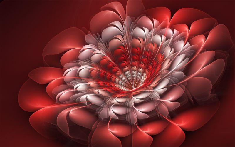 abstraction fractal 3d art flowers wallpaper