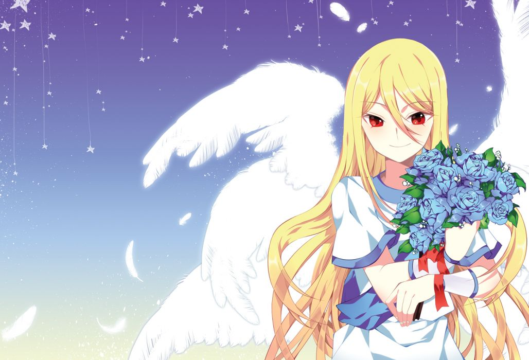 afuro terumi angel blonde hair feathers flowers inazuma eleven long hair odd red eyes stars wings wallpaper