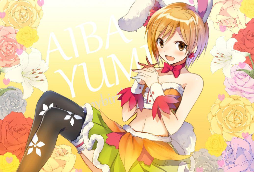 aiba yumi brown eyes brown hair bunny ears bunnygirl hayama eishi idolmaster idolmaster cinderella girls navel short hair thighhighs wallpaper