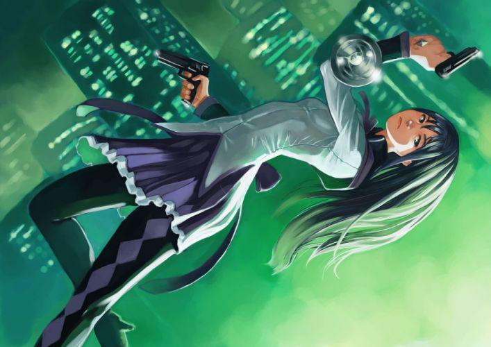 akemi homura black hair green eyes gun mahou shoujo madoka magica tani (sgt epper) weapon wallpaper